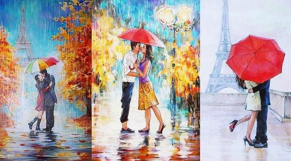 Влюбленные под зонтом у Эйфелевой башни в Париже - живопись маслом