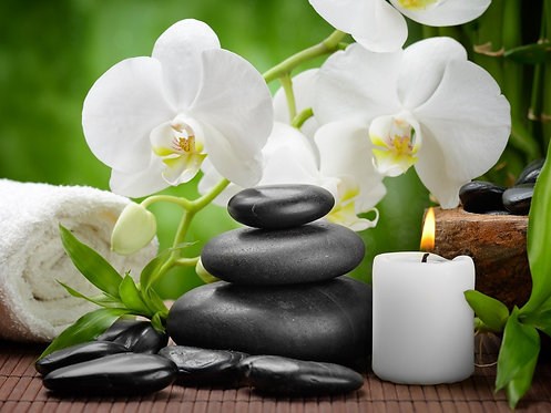 Черные базальтовые камни и белые цветы орхидеи на ветке