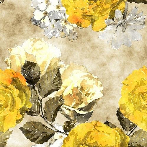 Акварельный рисунок с золотисто-желтой и белой розами