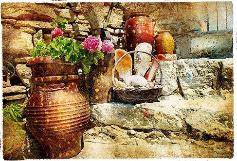 Дворик с цветами в греческом городе