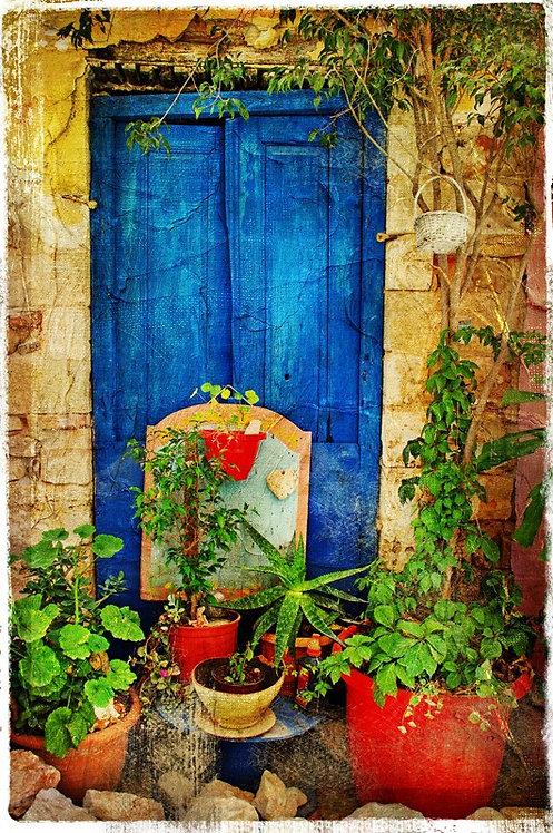 Старый дворик с дверью и цветами в ретро-стиле