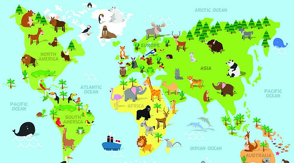 Карта мира для детей со зверюшками и названиями континентов и океанов
