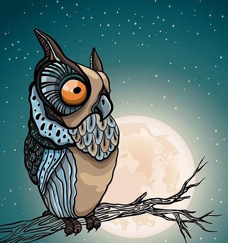 Мультяшная сова на ветке на фоне ночного звездного неба с полной луной