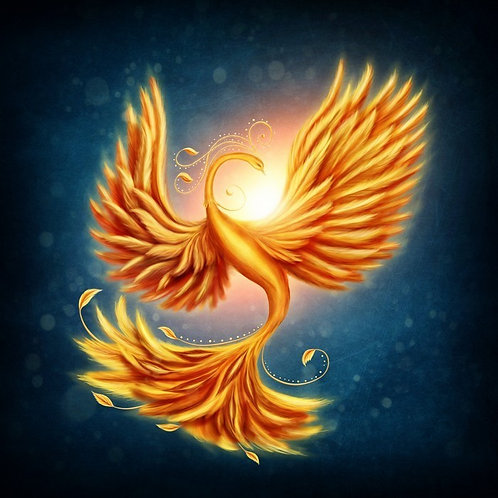Волшебная жар-птица на синем фоне