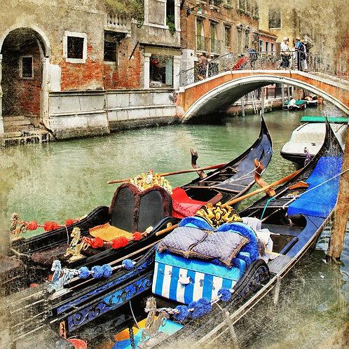 Венецианские гондолы в живописном стиле