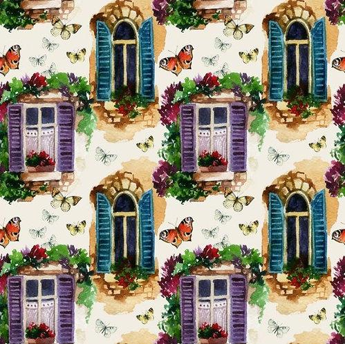 Акварельные окна с геранью и бабочками