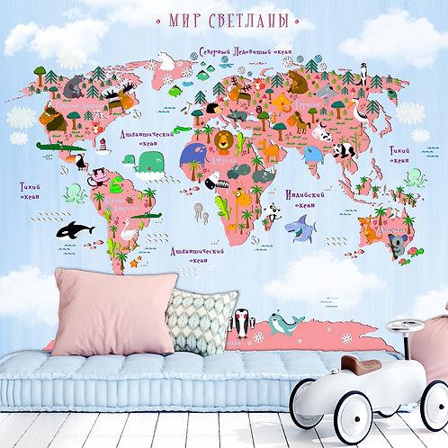 Фреска. Детская карта мира. Коллекция LITTLE WORLD