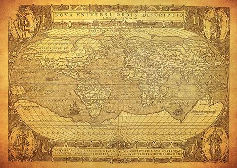 Старинная карта мира на выцветшей бумаге