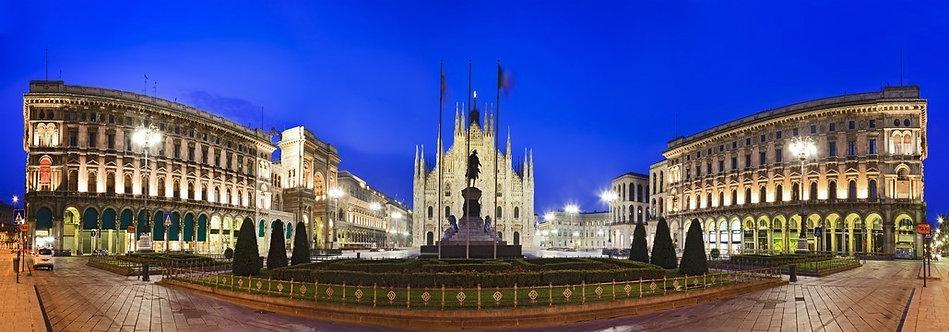 Панорамный вид Центральной площади Милана