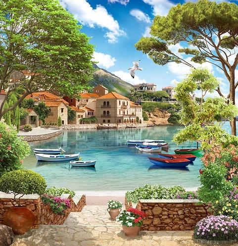 Пляж с лодками