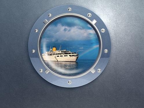 Иллюминатор с видом на морское судно