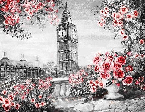 Фреска. Старый балкон. Терраса. Балюстрада. Цветы. Биг-Бен. Лондон