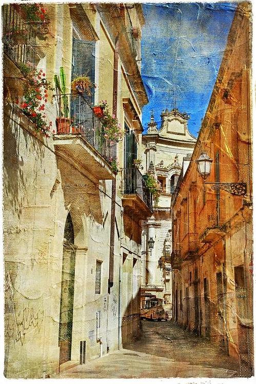 Итальянская старая городская улица в живописном стиле