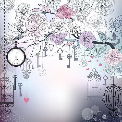 Абстракция с птицей, цветами и клетками