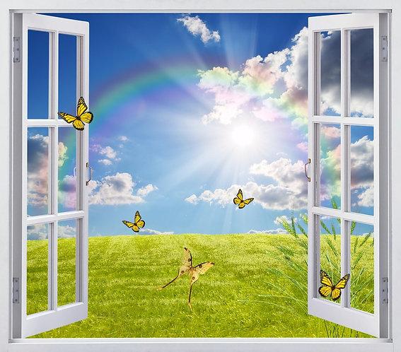 Вид из открытого окна на радугу и бабочек над пшеничным полем