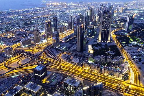 Ночной вид на Дубай