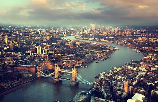 Лондонский аэрофотоснимок Тауэрского моста на закате