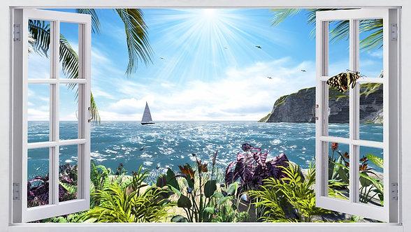 Вид из открытого окна на море и яхту
