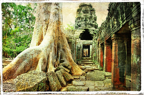 Древний камбоджийский город в стиле ретро