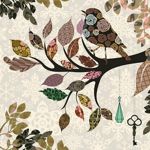 Ветка дерева с листьями и птицей в винтажном стиле