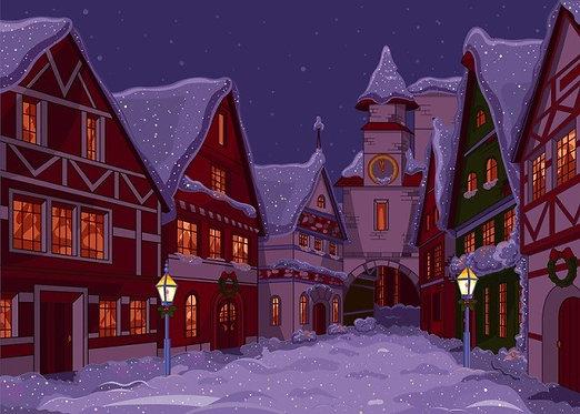 Рождественская городская улица ночью