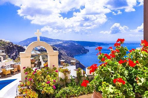 Вид из окна на колокольню - Санторини