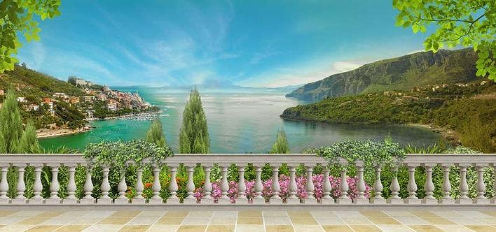 Фреска. Терраса. Балюстрада. Цветы. Вид на море. Морской пейзаж