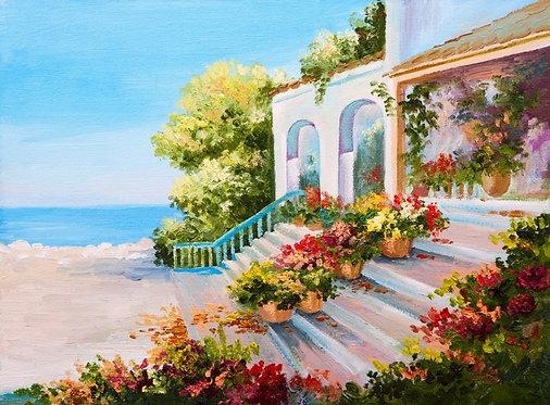 Фотообои. Фрески. Картины. Терраса. Цветы. Лестница. Морской пейзаж. Вид на море