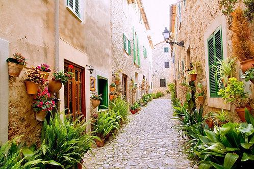 Вальдемоса на Мальорке - деревня с цветочными горшками в Испании