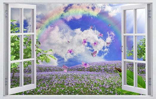 Вид из открытого окна на цветочные луга с радугой и бабочками