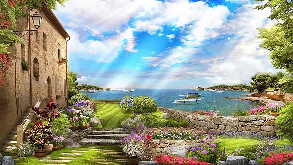 Фотообои. Фрески. Картины. Старый город. Лестница. Сад. Цветы. Вид на море