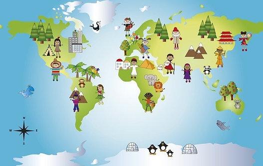 Детская карта мира с разными жителями стран