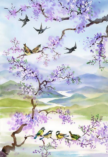 Птицы на ветке сакуры - акварель