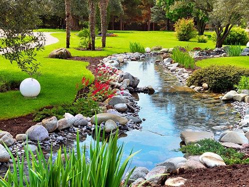 Фотообои. Фрески. Картины. Весенний сад. Цветы. Беседка. Пруд. Природа и пейзажи