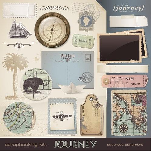 Коллаж с картами и вещами из путешествий