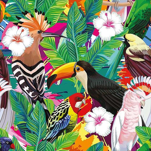 Тропические птицы и пальмовые листья с белым гибискусом