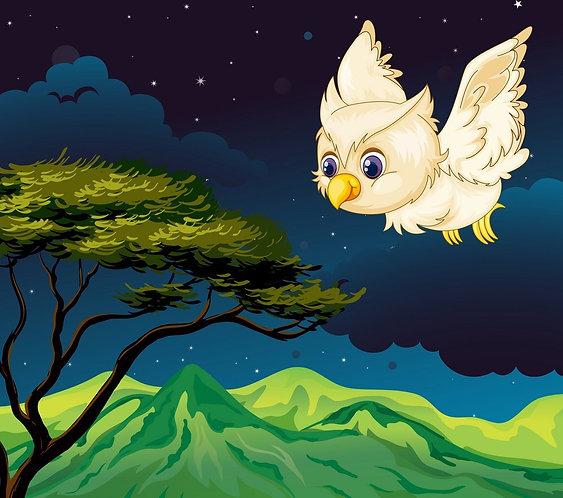 Белая мультяшная сова