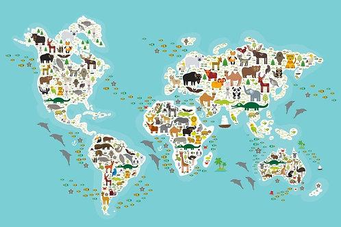 Карта мира с животными и рыбами для детей и малышей