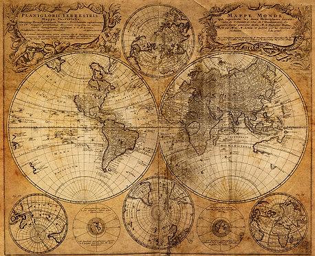 Старинная карта мира с полусферами
