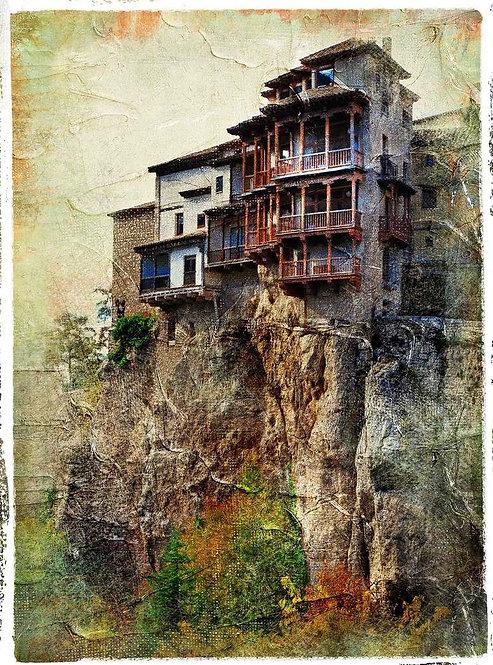 Средневековый испанский город Куэнка в живописном стиле