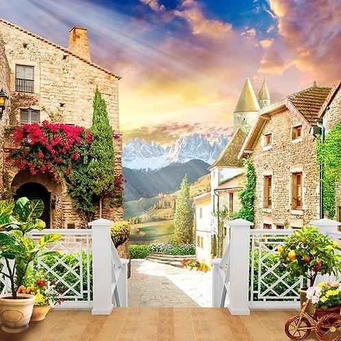 Фреска. Терраса. Цветы. Улочка старого города. Вид на горы. Перспектива