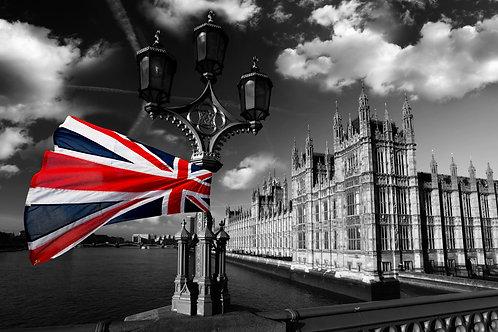 Дом парламента с флагом Англии - Лондон
