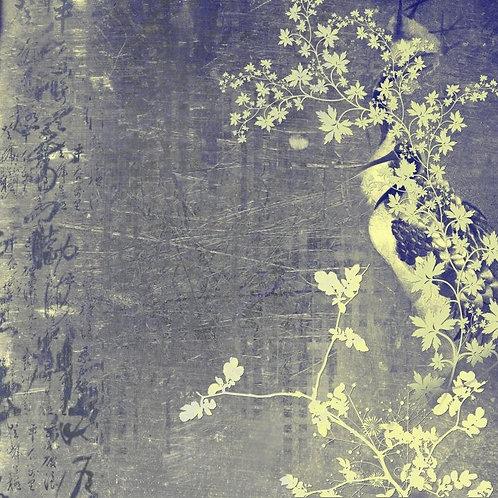 Винтажный рисунок с журавлями в восточном стиле