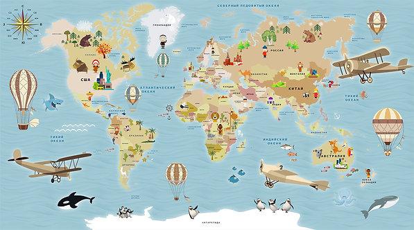 Фотообои. Детская карта