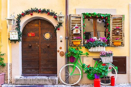 Винтажная улочка со велосипедом и цветами