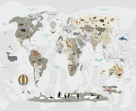 Фотообои. Карта мира для детей