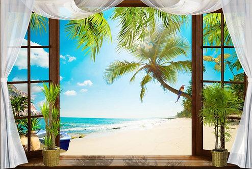 Вид из открытого окна на тропический пляж