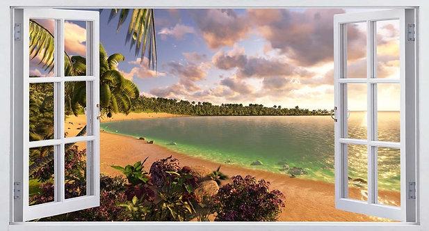 Виды из распахнутого окна на тропический остров и пляж