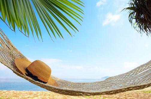 Красивый гамак между двумя пальмами и плетеная шляпа