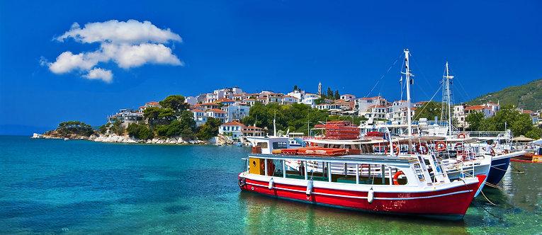 Фотообои. Фрески. Картины. Лодки. Пристань. Гавань. Остров Скопелос. Греция
